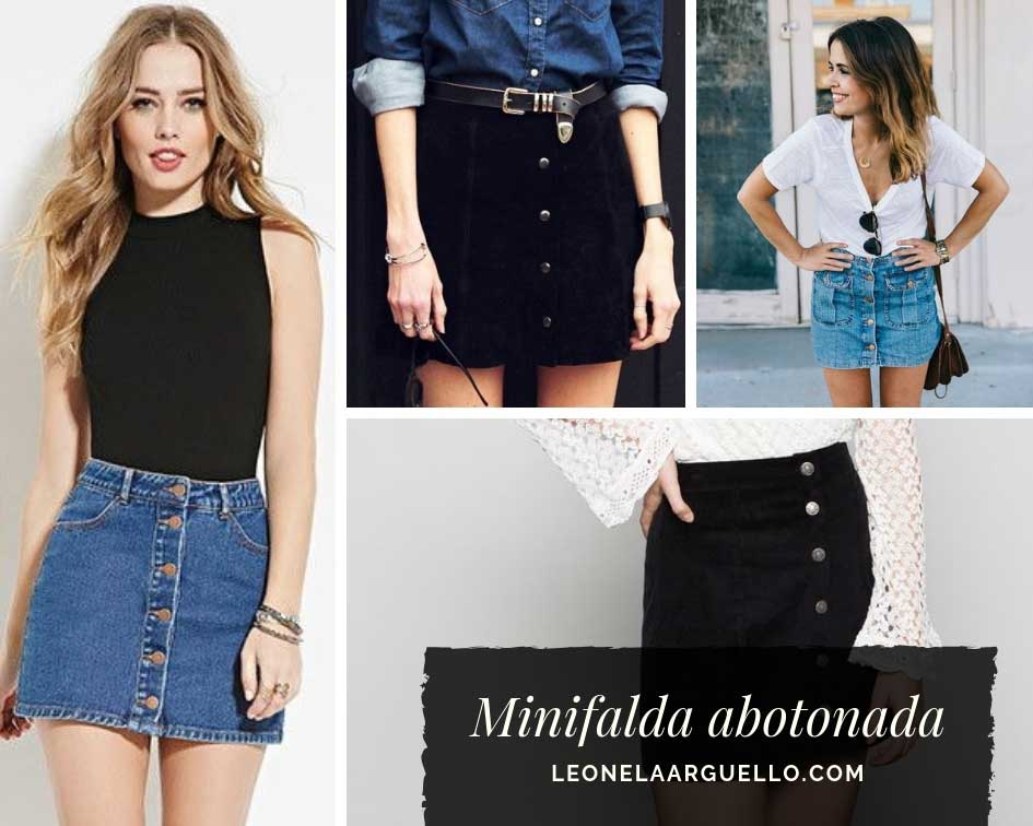 Minifalda abotonada ejemplos