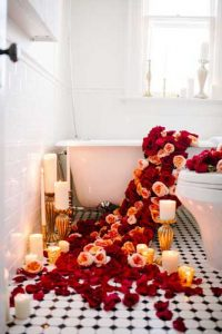 decoracion en bañera para fotos boudoir