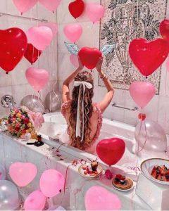 idea decoracion con globos para san valentin