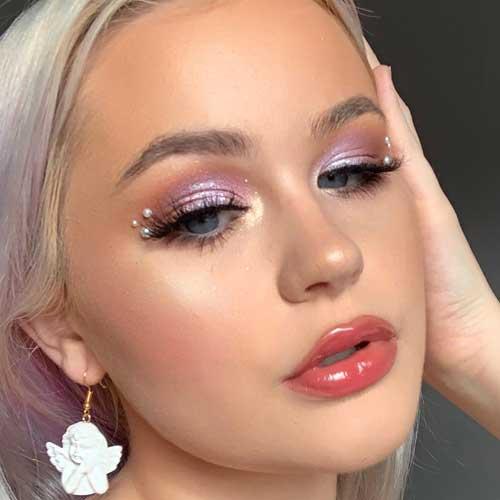 maquillaje con perlas en los ojos facil